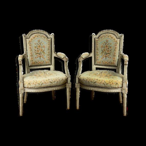 Selency Paire de fauteuils époque Louis XVI en bois