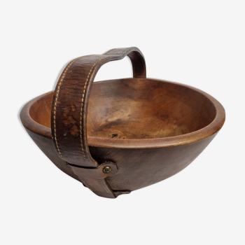 Panier rond en bois masif et cuir sellier, 39 cm