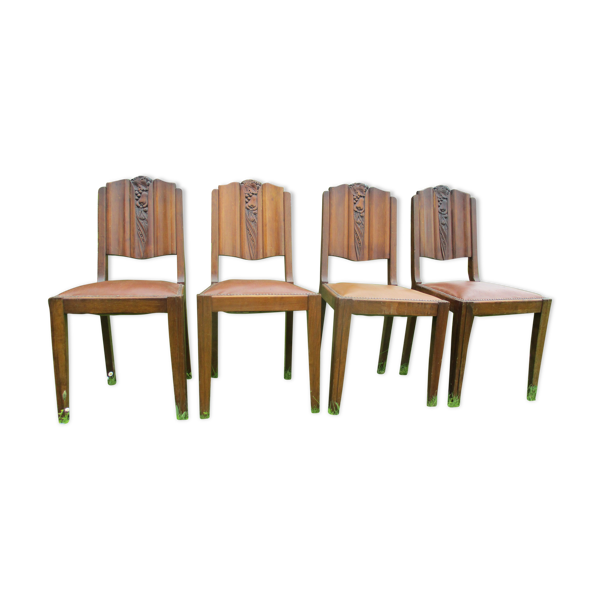 Set de 4 chaises art-deco circa 1940