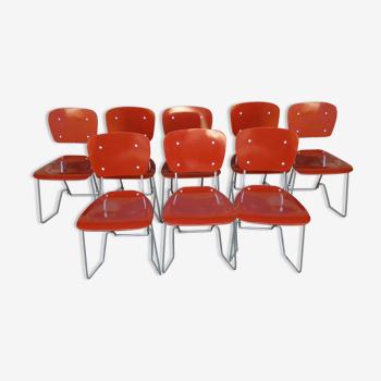 Lot de 8 chaises empilables Aluflex par Armin Wirth Ph. Zieringer Suisse