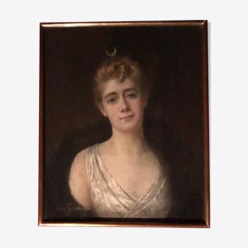 Pastel tableau ancien d'une bourgeoise en Diane