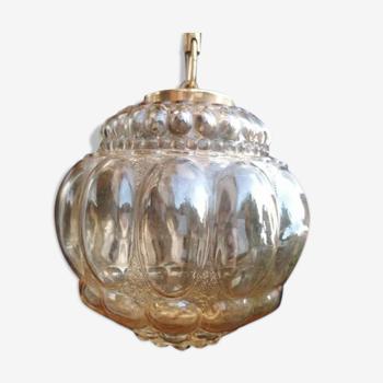 Suspension globe verre ambré bulles vintage 60s / plafonnier vintage / verre empoli