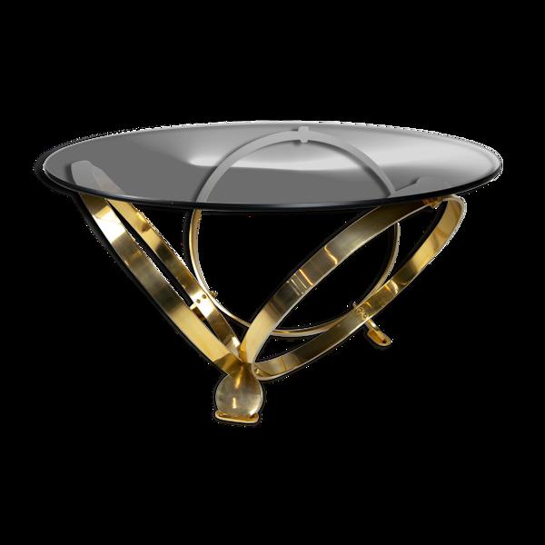 Ronald Schmitt diamond designer glass coffee table brass par Knut Hesterberg