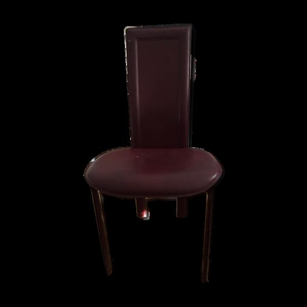 Chaise cattelan design cuir bordeaux
