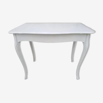 Table style Louis XV bois blanc avec pieds courbés démontables vintage