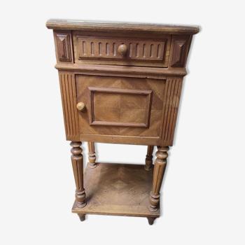 Table de chevet bois massif marqueté tiroir porte ancienne vintage