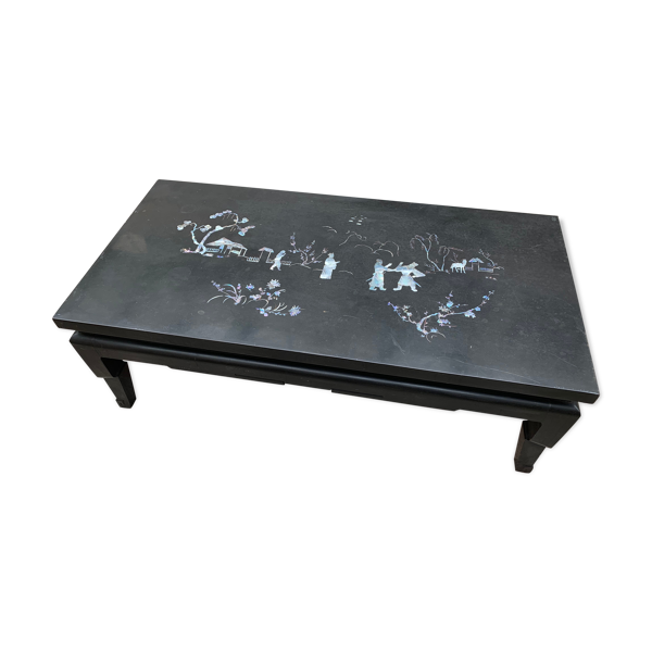 Selency Table basse chinoise laqué et nacre