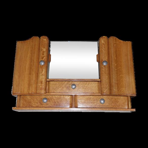 Etagère stand armoire meuble de rangement maquillage en bois avec miroir