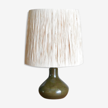 Lampe verte en céramique abat jour en raphia années 60