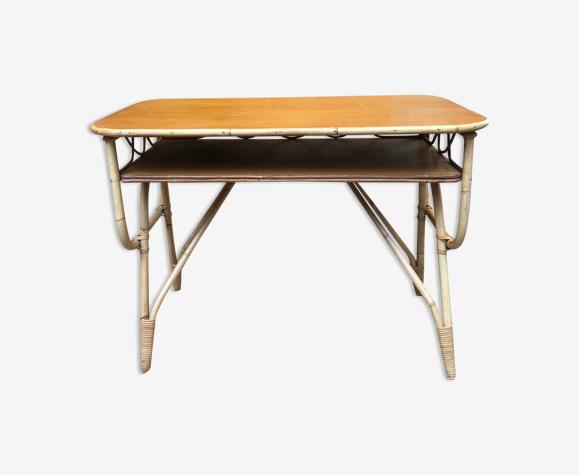 Bureau vintage bois et bambou