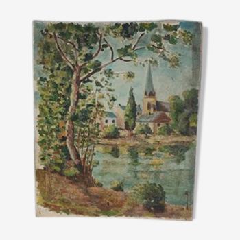 Tableau ancien, paysage sur toile