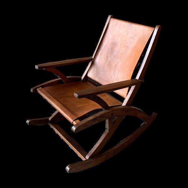 Rocking-chair en chêne et cuir 1960