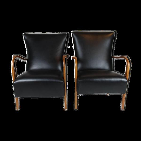 Paire de fauteuils rembourrés en cuir noir, Italie des années 1950