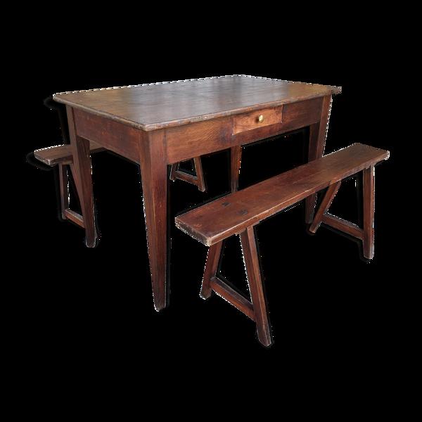 Table de ferme et ses deux bancs vintage