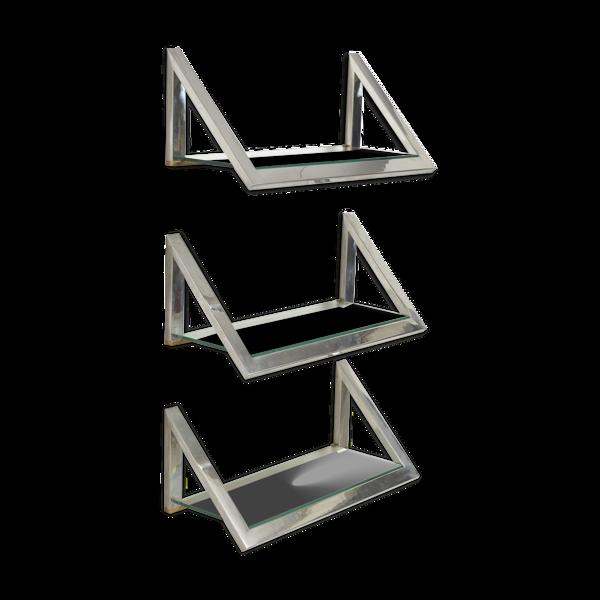 Ensemble de 3 étagères en verre avec cadre chrome, années 1970