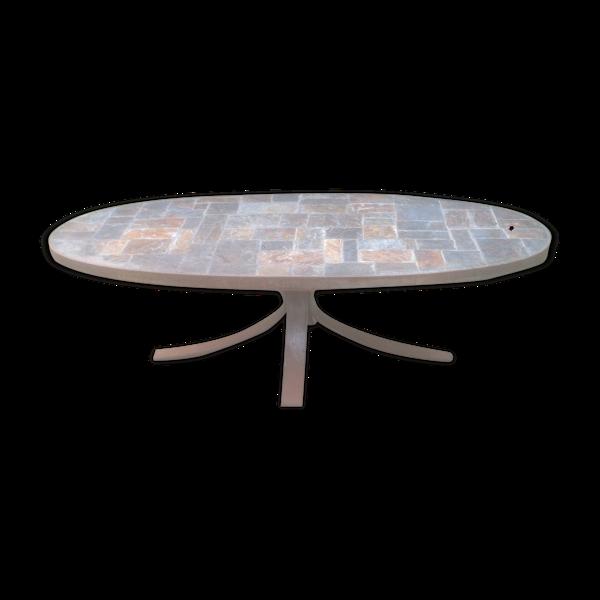 Selency Table basse fer forgé et ardoise