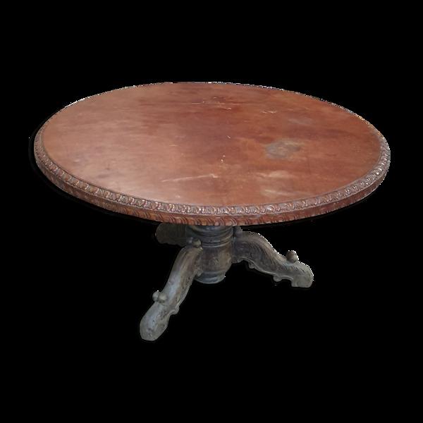 Selency Table ronde bois sculpté acajou