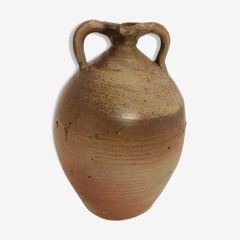 Ancienne jarre à huile en grès partiellement vernissé