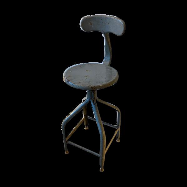 Chaise haute architecte industrielle Nicolle pivotante hauteur réglable métallique gris vintage 1950