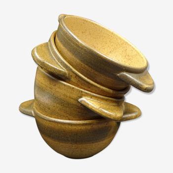 Lot de 4 bols à oreille en grès de Longchamps - Vers 1970