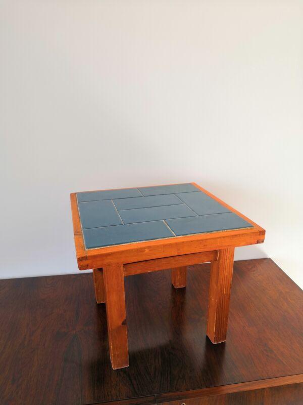 Table moderniste plateau en carreaux bleus - France 1960's