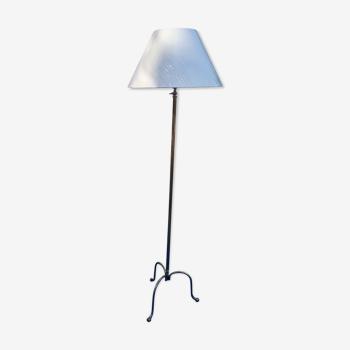 Lampadaire vintage en laiton réglable en hauteur