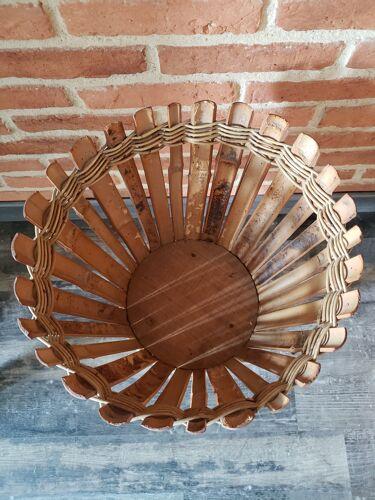 Ancien cache pot tripode en bambou et rotin