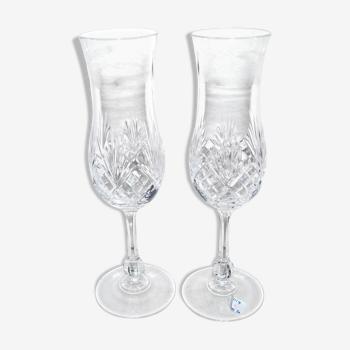 Lot de deux flûtes à champagne en cristal