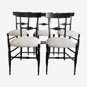 Suite de 5 chaises Chiavari en noyer noirci, Giuseppe Gaetano Descalzi - 19ème