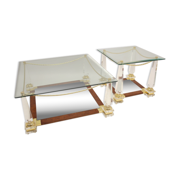 Selency Table basse italienne plexiglas avec la table d'appoint