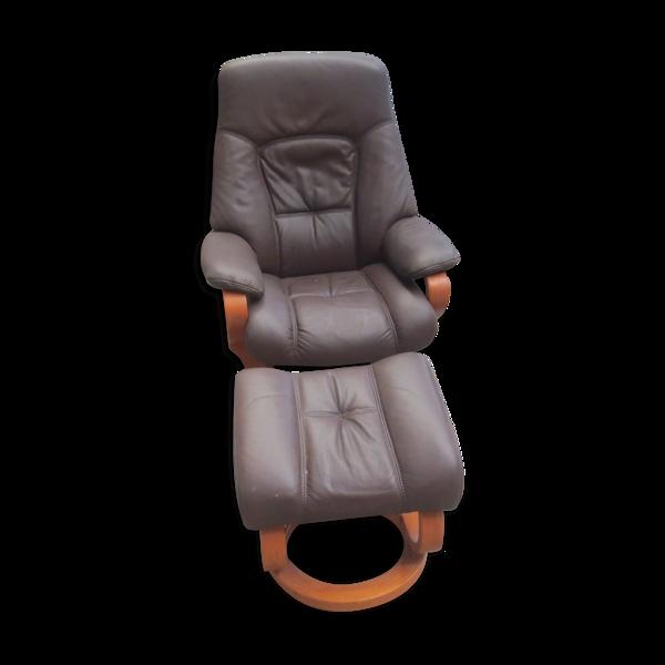 Fauteuil de relaxation manuel avec pouf Himolla en cuir