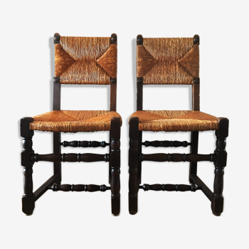 Pair of old wooden and straw chairs