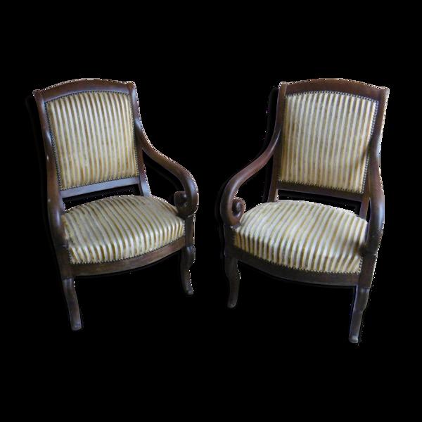 Paire de fauteuils à crosse style Restauration