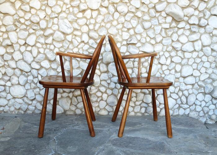 Paire fauteuils à barreaux scandinaves bois massif Danemark