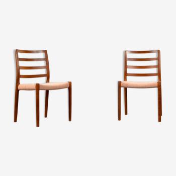 2 chaises Niels Moller modèle 85, Danemark en teck et en laine