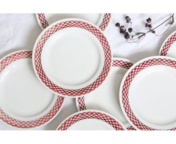 Set de 9 assiettes plates motifs géométriques vintage
