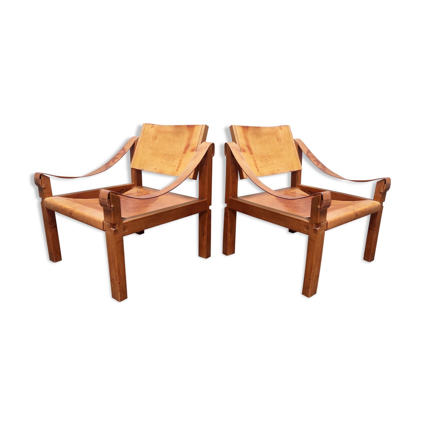 Paire de fauteuils sahara S10 par Pierre Chapo, France années 1960