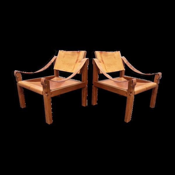 Selency Paire de fauteuils sahara S10 par Pierre Chapo, France années 1960