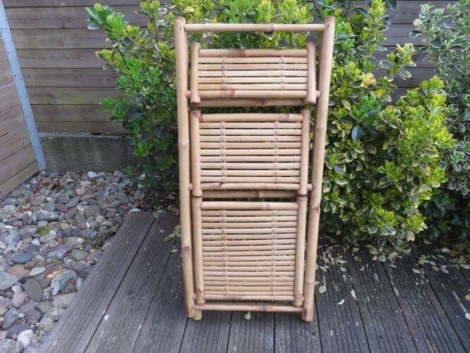Etagère pliante en bambou années 60 70