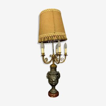 Lampe époque Napoléon III en antimoine, bronze et marbre vers 1850