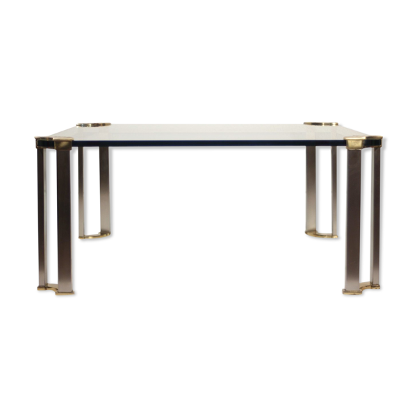Table basse en bronze & verre trempé par Peter Ghyczy, 1970s