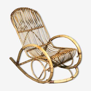 Rocking chair en rotin et bambou Rohé Noordwolde vintage 1960
