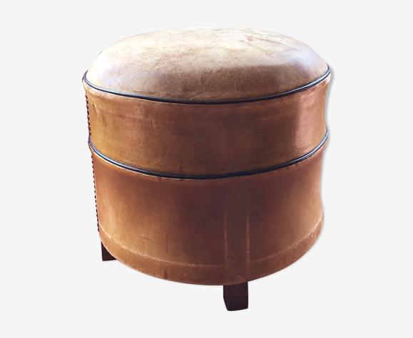 Havana leather ottoman