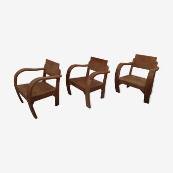 3 armchairs in raw teak, garden