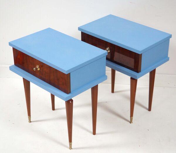 Paire de chevets années 60 customisés