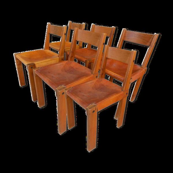 Ensemble de six chaises de salle à manger Pierre Chapo vers 1960