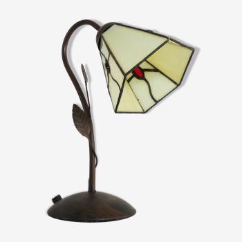 Lampe en métal tulipe en résine style art déco année 80