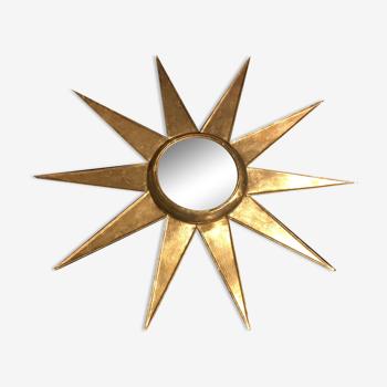 Miroir soleil déformant 61 cm en métal doré à la feuille d'or dit de sorcière