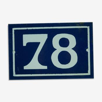 Plaque emaillée numéro de maison n78