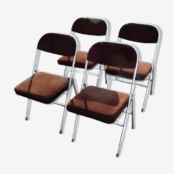 Ensemble de 4 chaises pliantes, années 70